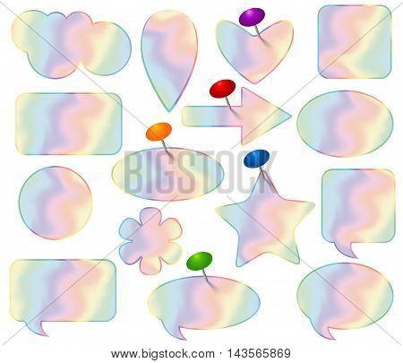 Holographic stickers set with pushpins. Colorful vector illustration.