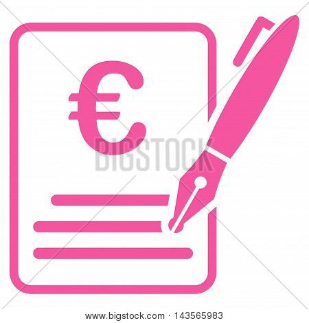 Euro Contract Signature icon. Vector style is flat iconic symbol with rounded angles, pink color, white background.