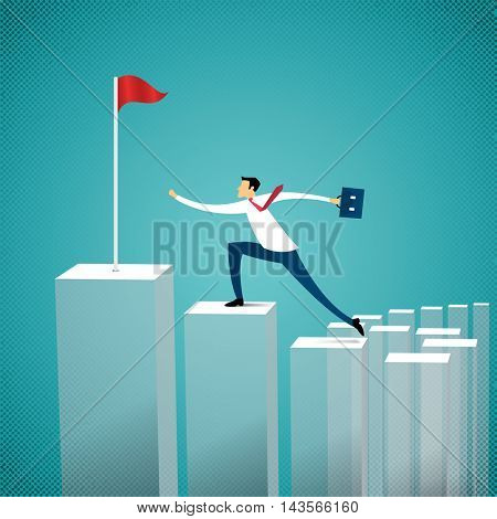 business concept businessman running to the top