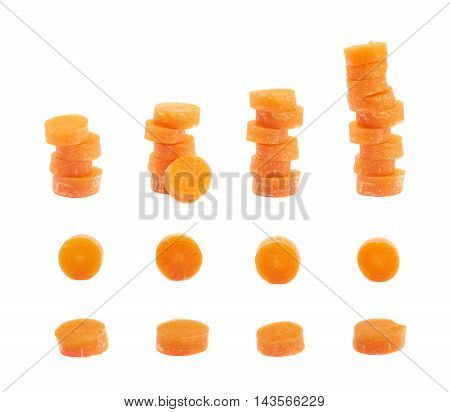 Set of multiple sliced baby carrots images, isolated over the white background