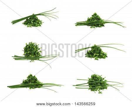 Pile of chopped green onion scallions isolated over the white background, set of six different foreshortenings