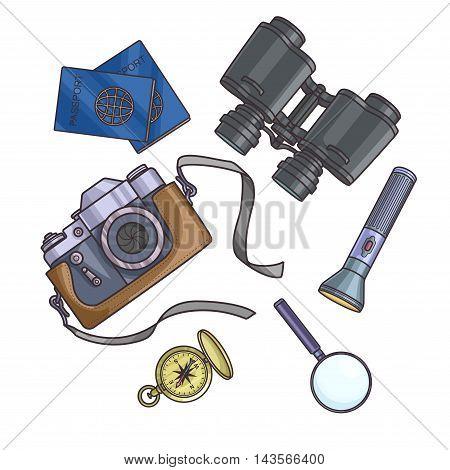 Set of travel equipment on white background passport, photo camera, compass, flashlight, binoculars. Adventure trip. Vector illustration.