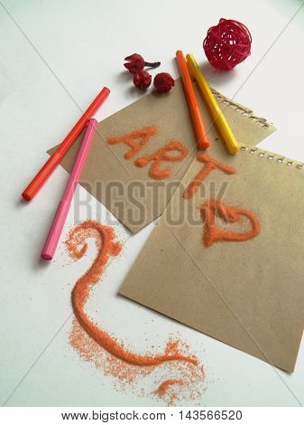 Coloful Felt Tip Pen Markers, Orange Sand And Dried Flowers
