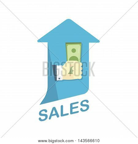 Conceptual Vector Flat Illustration Depicting Increase of Sales Level