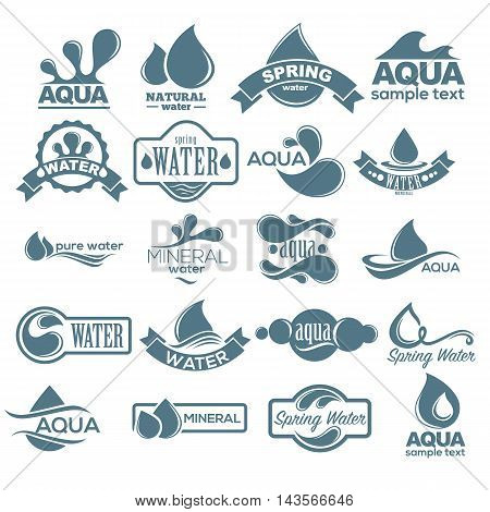 Blue logos set. Label for mineral water. Aqua icons collection. Vector Illustration isolated on white background