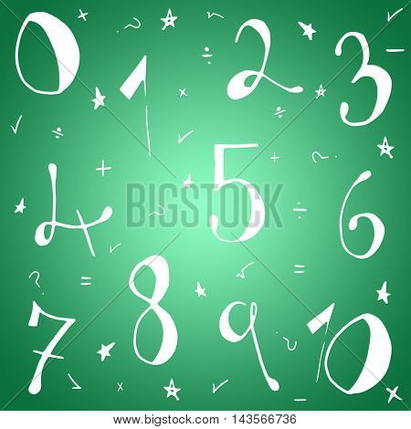 Drawn numbers against green vignette