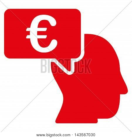 Euro Businessman Idea icon. Vector style is flat iconic symbol with rounded angles, red color, white background.
