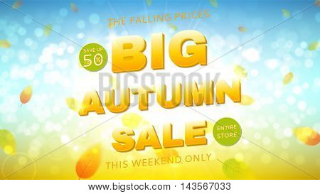 Shiny backdrop with seasonal special offer. Beautiful sunny background with the falling leaves. Vector illustration.