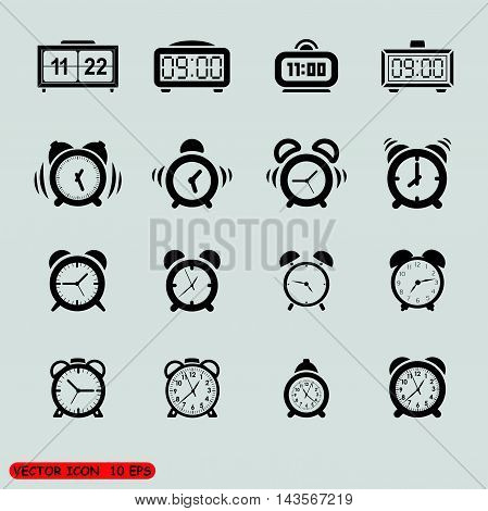 vector black clocks icons in the gray squares