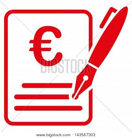 Euro Contract Signature icon. Vector style is flat iconic symbol with rounded angles, red color, white background.