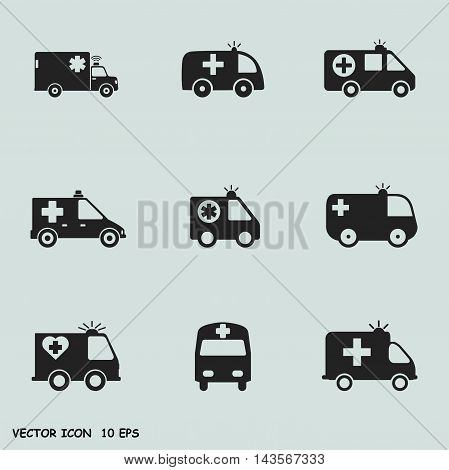 Set of: Ambulance vector icon Ambulance icos set
