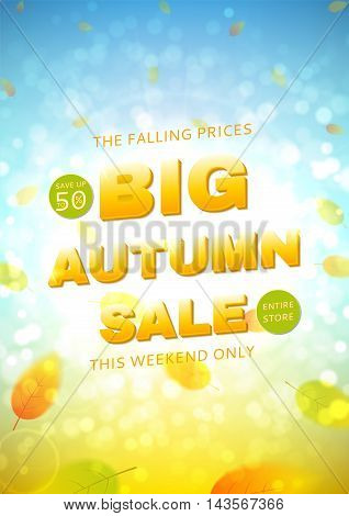 Shiny backdrop with seasonal special offer. Beautiful sunny background with the falling leaves. Vector illustration. Template of brochure for your business in A4 size.