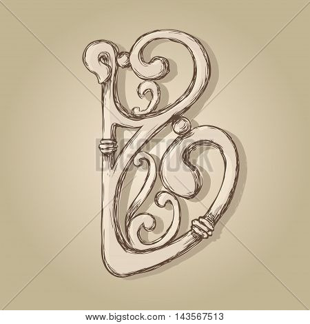 letter B monogram style artnuvo and forging
