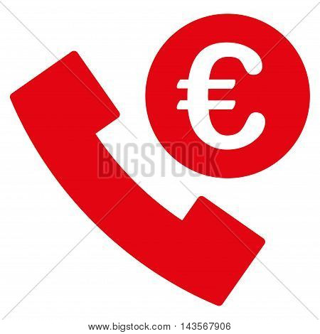 Euro Phone Order icon. Vector style is flat iconic symbol with rounded angles, red color, white background.