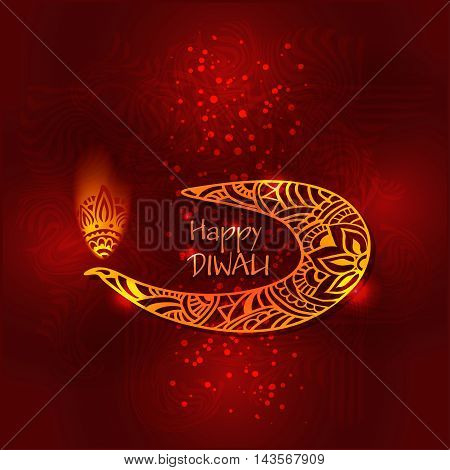 Abstract illustration of burning diya on Diwali Holiday for Indian festival