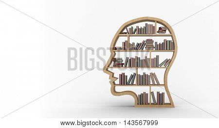 Digitally generated image of books arranged in human face shape bookshelves against white background
