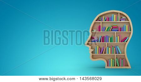 Colorful books in human face bookshelves over white background against blue vignette background