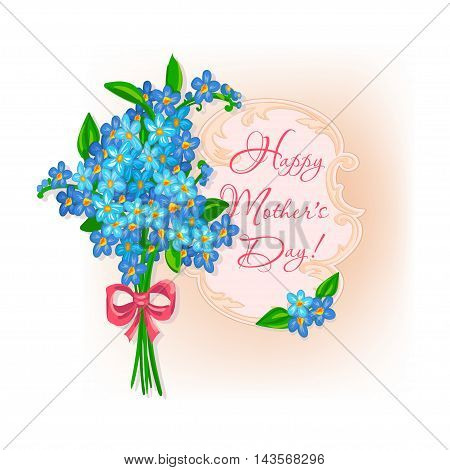 Happy Mother's Day - Postcard in vintage style with a bouquet of forget-me