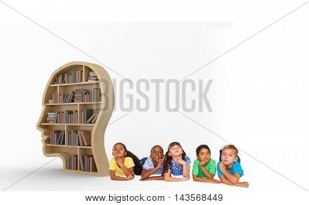 Cute kids thinking against books in brown human face bookshelves