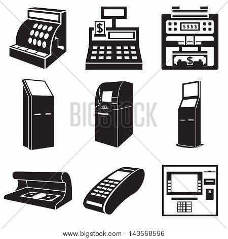 Icons of devices for money: cash register bill counter ATM payment terminal currency detector. Vector illustration