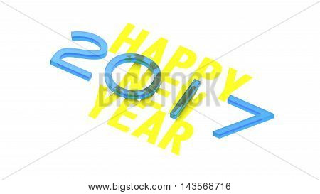 2017 New Year concept. Holliday Symbol. 3D illustration