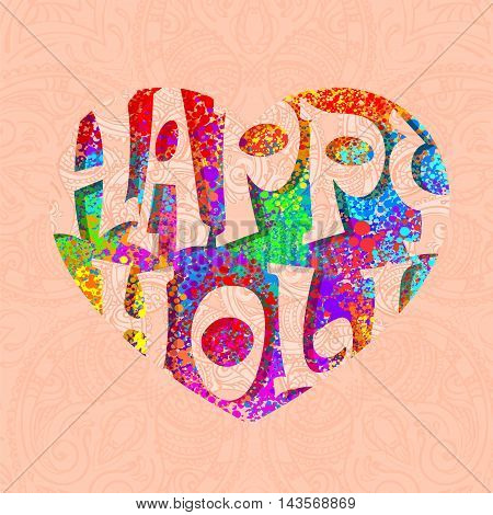 Happy Holi celebration. Creative handmade banner with multicolor colorful splash in the shape of a heart and Hindu-mehendi background for Holi festival