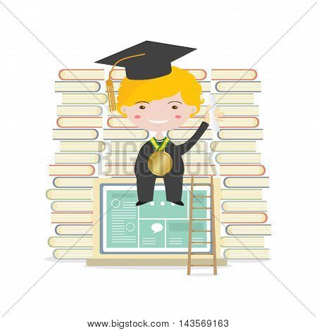 Happy Students Sit On Laptop With Books And Ladder Represent Education Concept Vector Illustration