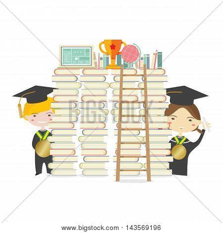 Happy Students With Golden Medal And Ladder Represent Education Concept Vector Illustration