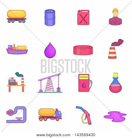 Oil industrial icons set in cartoon style. Energy and fuel production set collection vector illustration
