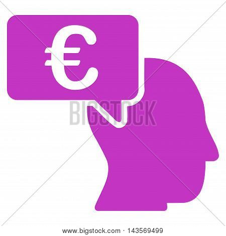 Euro Businessman Idea icon. Vector style is flat iconic symbol with rounded angles, violet color, white background.