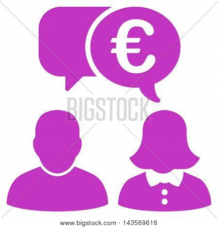 Euro Chat icon. Vector style is flat iconic symbol with rounded angles, violet color, white background.