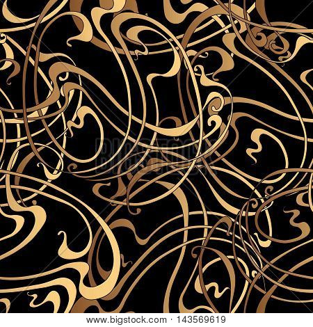 Seamless gold abstract pattern on a black background in the style of Art Nouveau