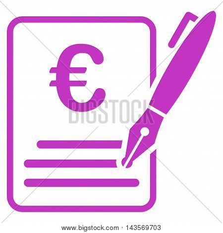 Euro Contract Signature icon. Vector style is flat iconic symbol with rounded angles, violet color, white background.