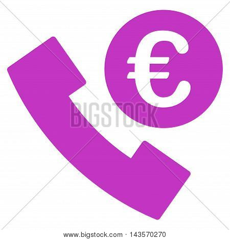 Euro Phone Order icon. Vector style is flat iconic symbol with rounded angles, violet color, white background.