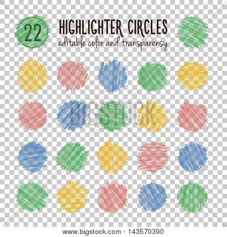 Set of different hand drawn colorful bright highlight spots. Vector collection of marker circles. Easy to change color and transparency.