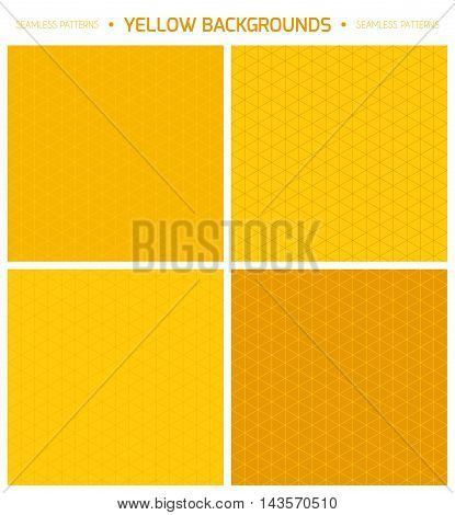 Geometric minimalistic thin lined seamless patterns set in yellow color. Vector isometric endless backgrounds collection.