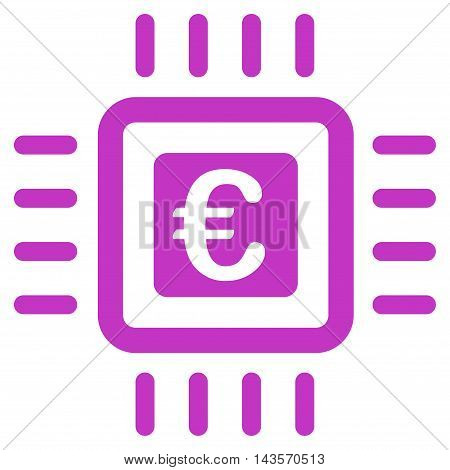 Euro Processor icon. Vector style is flat iconic symbol with rounded angles, violet color, white background.