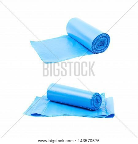 Blue plastic polyethylene trash bag roll isolated over the white background, set of two different foreshortenings