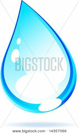 Bright water drop. Vector illustration.