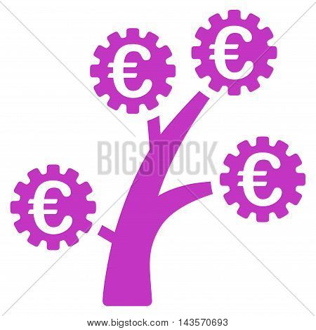 Euro Technology Tree icon. Vector style is flat iconic symbol with rounded angles, violet color, white background.