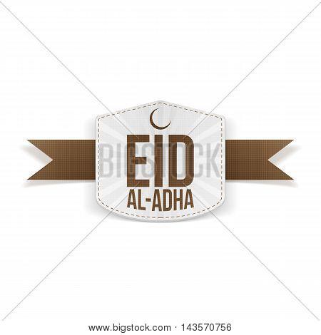 Eid al-Adha decorative white Banner on brown Ribbon