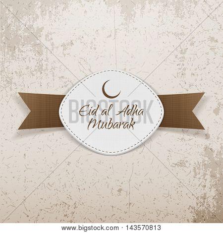 Eid al-Adha Mubarak Emblem with Ribbon on grunge Background