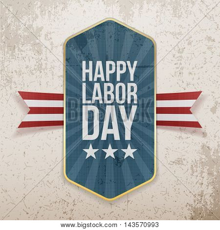Happy Labor Day Text on Tag with Ribbon
