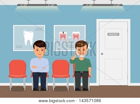 Dental office. Patients waiting for reception to the dentist. Boy with swelling of the cheek and a bandage. Man waiting for the annual checkup at the dentist. Treatment and care of teeth.