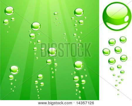 Green water with bubbles. Vector illustration.