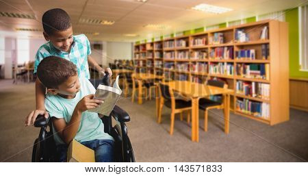 Boy pushing wheelchair while friend reading book against view of library