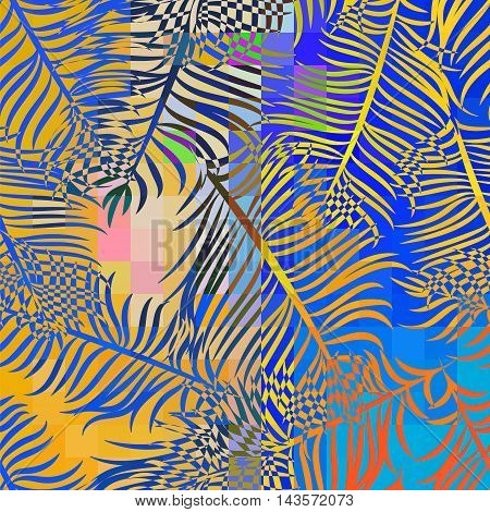 Tropical abstract seamless pattern of banana leaves in psychedelic colors