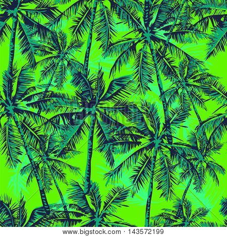 Seamless vector tropical pattern depicting palm trees on the bright green background