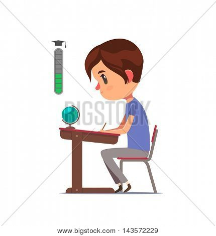 Student sitting behind desk and studying. Secondary school level up. Vector character.