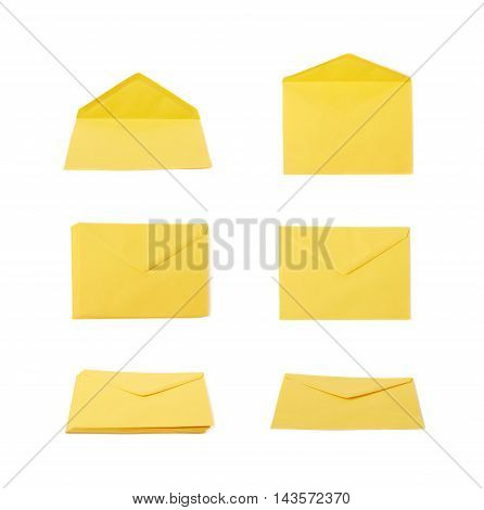 Yellow letter envelope isolated over the white background, set of six different foreshortenings